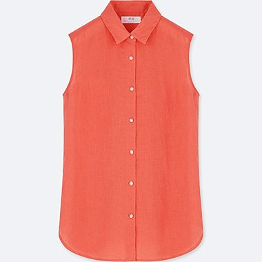 WOMEN LINEN SLEEVELESS SHIRT