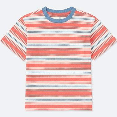 KIDS STRIPED CREWNECK SHORT-SLEEVE T-SHIRT, ORANGE, medium