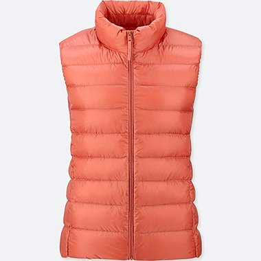 WOMEN ULTRA LIGHT DOWN VEST, ORANGE, medium