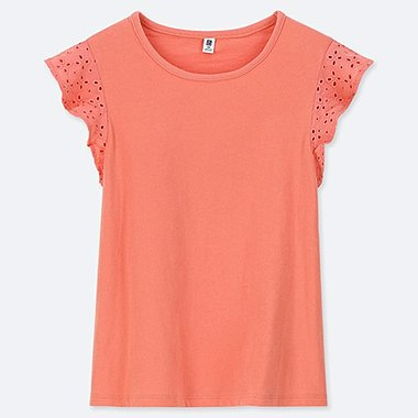 GIRLS LACE FRILL CREW NECK SHORT-SLEEVE T-SHIRT, ORANGE, medium