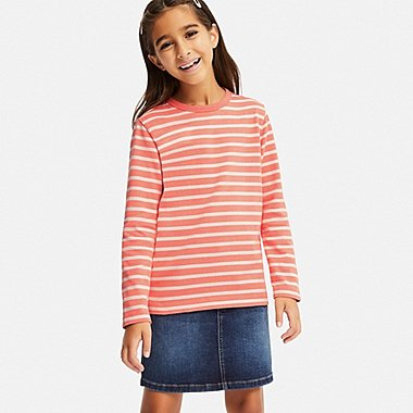 KIDS STRIPED CREW NECK LONG-SLEEVE T-SHIRT, ORANGE, medium