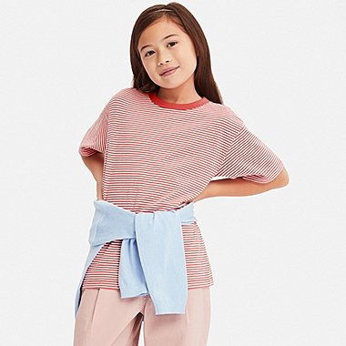 KIDS STRIPED CREW NECK SHORT-SLEEVE T-SHIRT, ORANGE, medium
