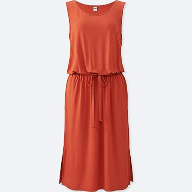 Womens Viscose Sleeveless Jersey Dress, ORANGE, medium