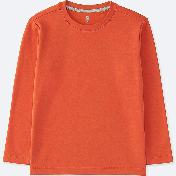 BOYS SOFT TOUCH CREWNECK LONG SLEEVE T-SHIRT, ORANGE, large