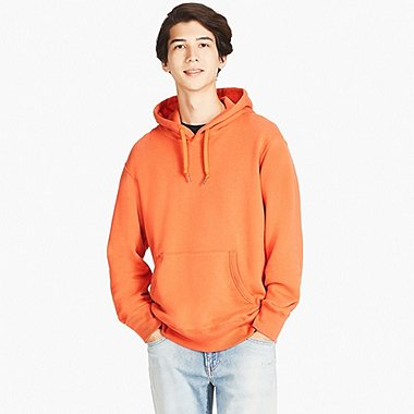 MEN LONG SLEEVE HOODIE, ORANGE, medium