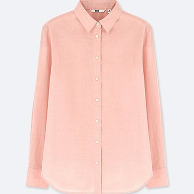 WOMEN SOFT COTTON LONG SLEEVE SHIRT (ONLINE EXCLUSIVE), ORANGE, medium