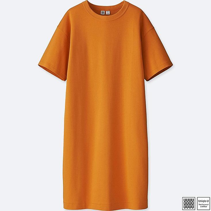 WOMEN U CREWNECK SHORT-SLEEVE TEE DRESS, ORANGE, large