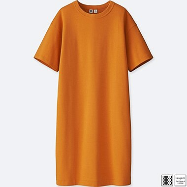 WOMEN U CREWNECK SHORT-SLEEVE TEE DRESS, ORANGE, medium