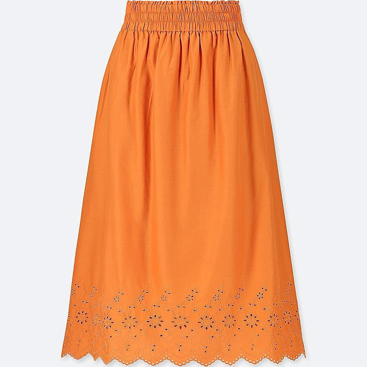 WOMEN HIGH-WAIST COTTON LAWN EYELET SKIRT at UNIQLO in Brooklyn, NY | Tuggl