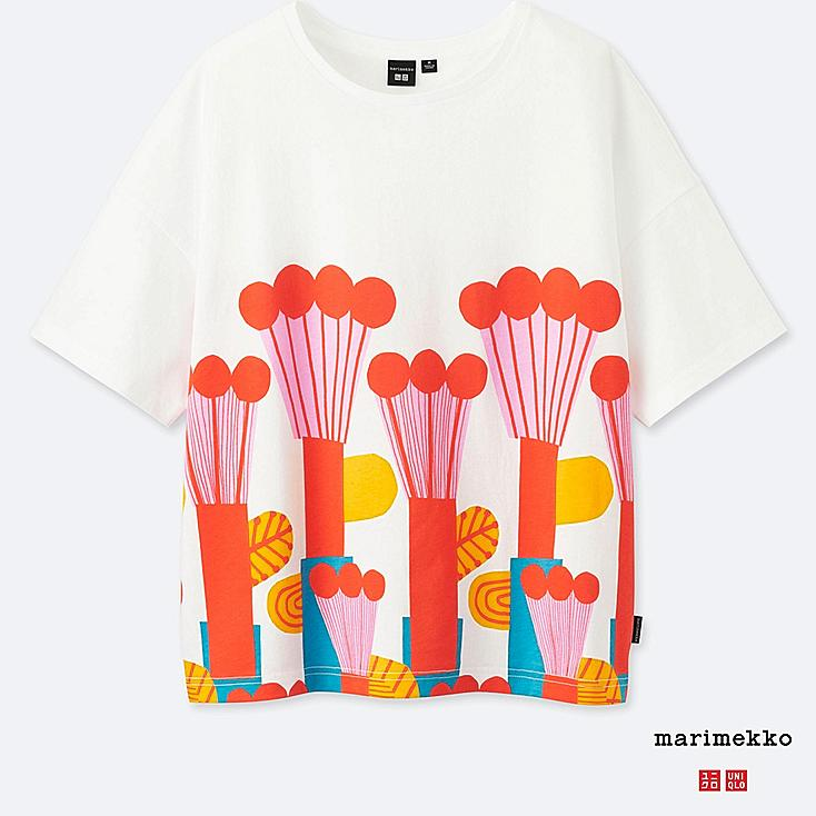 WOMEN MARIMEKKO SHORT-SLEEVE GRAPHIC T-SHIRT, ORANGE, large