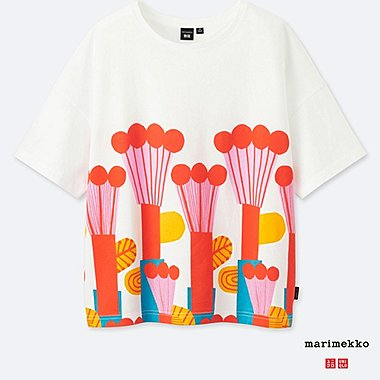 WOMEN MARIMEKKO SHORT-SLEEVE GRAPHIC T-SHIRT, ORANGE, medium