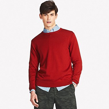 MEN EXTRA FINE MERINO CREWNECK SWEATER, ORANGE, medium