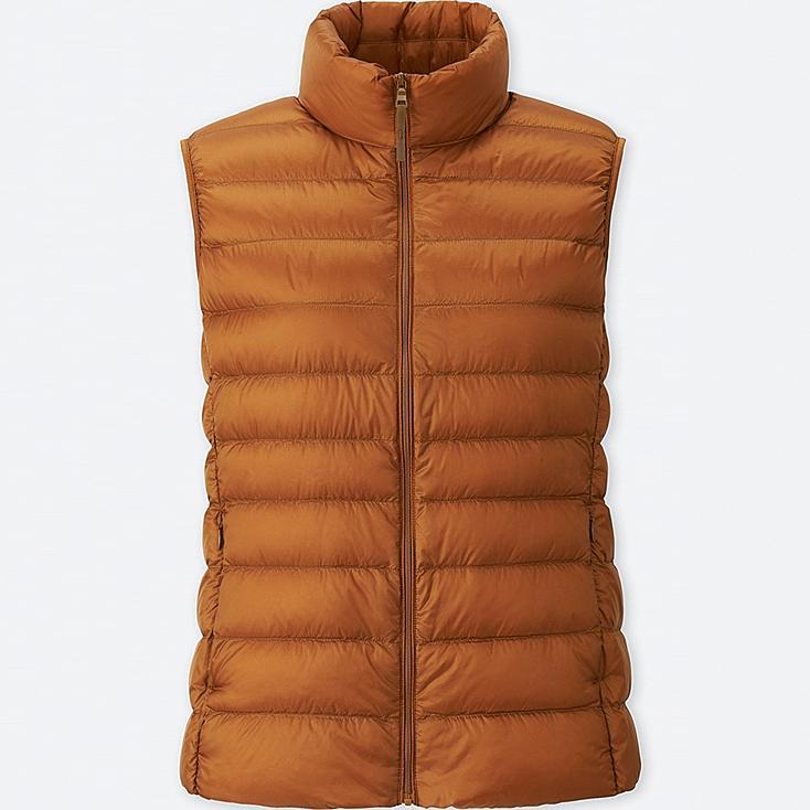 Women Ultra Light Down Vest, ORANGE, large