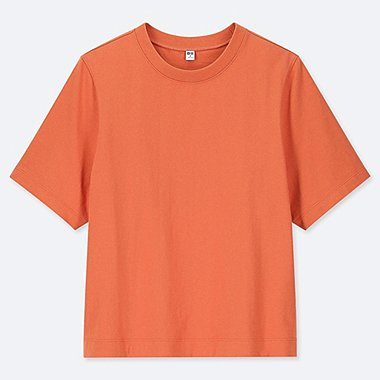 WOMEN CROPPED CREW NECK SHORT-SLEEVE T-SHIRT, ORANGE, medium