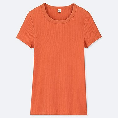 WOMEN RIBBED CREW NECK SHORT-SLEEVE T-SHIRT, ORANGE, medium