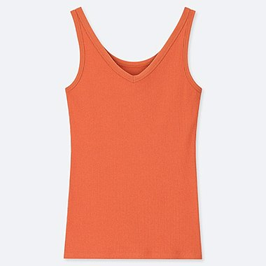 WOMEN RIBBED TANK TOP, ORANGE, medium