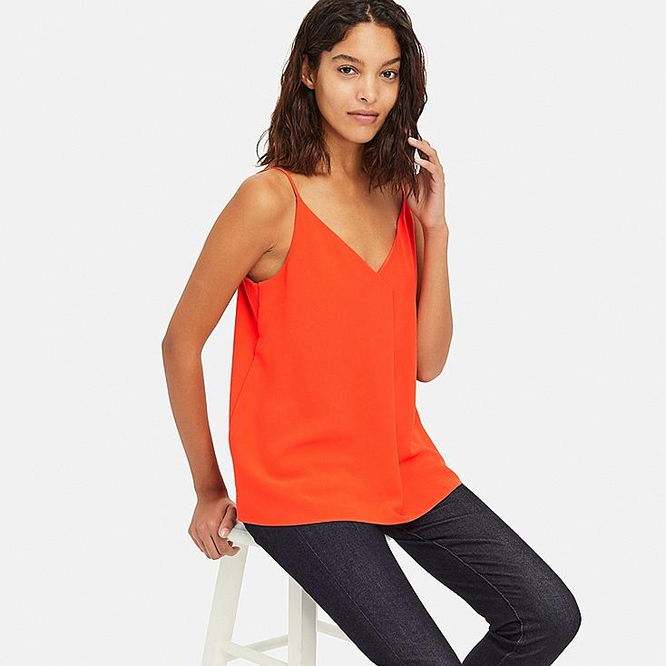 WOMEN DRAPE CAMISOLE, ORANGE, large