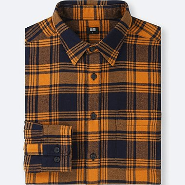 MEN FLANNEL CHECKED LONG-SLEEVE SHIRT, ORANGE, medium