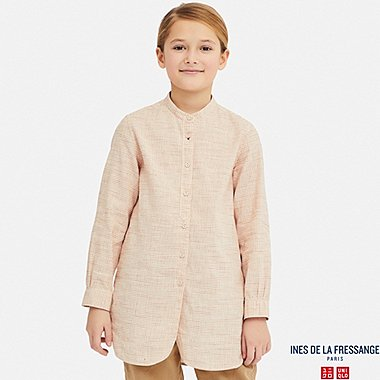 GIRLS LINEN COTTON LONG-SLEEVE TUNIC (INES DE LA FRESSANGE), ORANGE, medium