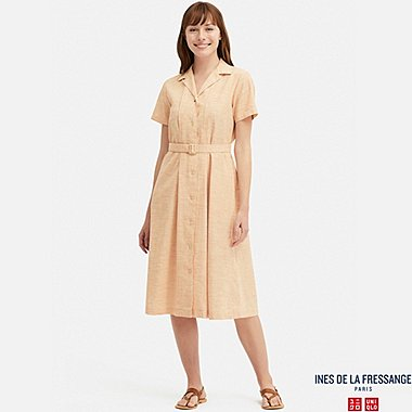 WOMEN LINEN COTTON TUCK SHORT-SLEEVE DRESS (INES DE LA FRESSANGE), ORANGE, medium
