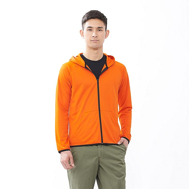 MEN DRY EX FULL ZIP HOODED JACKET, ORANGE, large