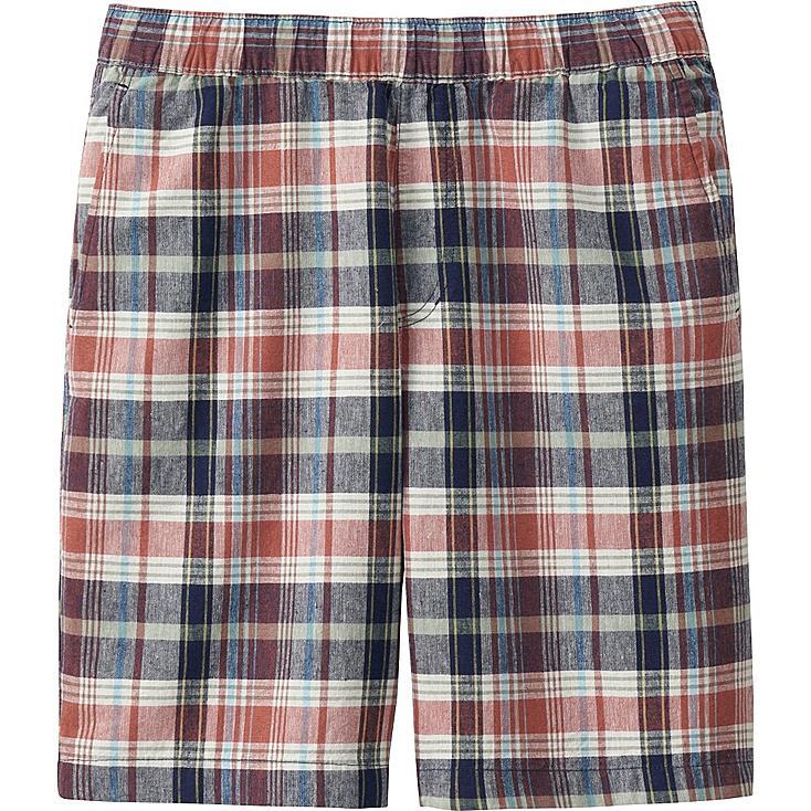 Men Linen Cotton Elastic Waist Shorts, ORANGE, large