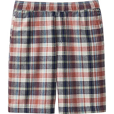 Mens Linen Cotton Elastic Waist Shorts, ORANGE, medium