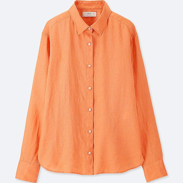 WOMEN PREMIUM LINEN LONG-SLEEVE SHIRT, ORANGE, large