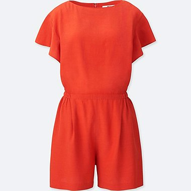 WOMEN RAYON SHORT-SLEEVE ROMPER, ORANGE, medium