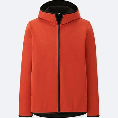 MEN WINDPROOF FLEECE LONG-SLEEVE FULL-ZIP HOODIE (ONLINE EXCLUSIVE), ORANGE, medium