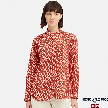 WOMEN COTTON LAWN LONG-SLEEVE SHIRT (INES DE LA FRESSANGE), ORANGE, medium