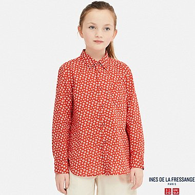 KIDS COTTON LAWN LONG-SLEEVE SHIRT (INES DE LA FRESSANGE), ORANGE, medium