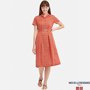 WOMEN COTTON LAWN TUCK SHORT-SLEEVE DRESS (INES DE LA FRESSANGE), ORANGE, medium