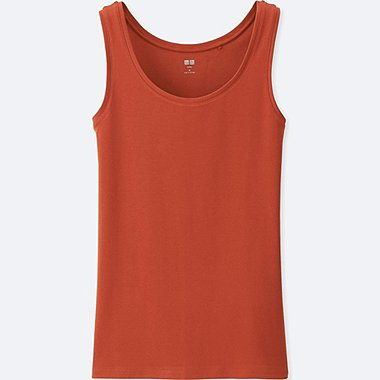 WOMEN Supima® COTTON TANK TOP, ORANGE, medium