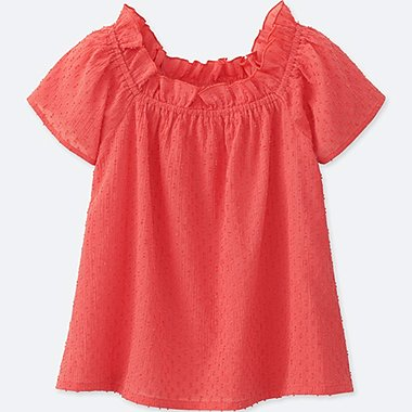GIRLS SHORT SLEEVE BLOUSE, ORANGE, medium