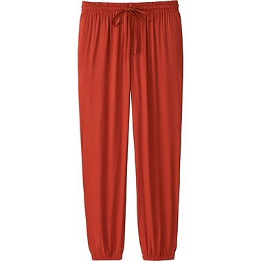 WOMEN DRAPE PANTS, ORANGE, medium