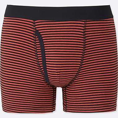MEN SUPIMA COTTON STRIPED BOXER BRIEFS, ORANGE, medium