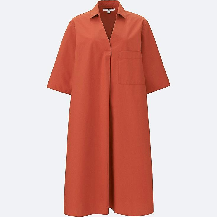 WOMEN CRISP COTTON A LINE SHIRT DRESS, ORANGE, large