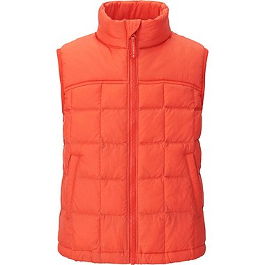 BOYS LIGHT WARM PADDED VEST, ORANGE, medium