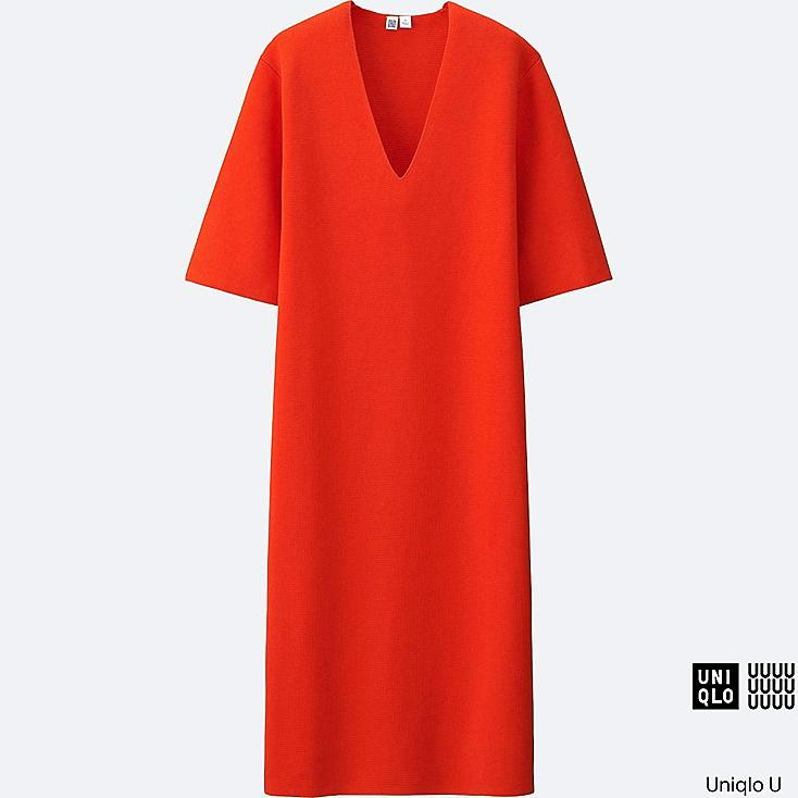 WOMEN U MILANO RIBBED V-NECK DRESS, ORANGE, large