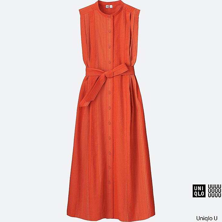 WOMEN Uniqlo U Seersucker Sleeveless Long Dress