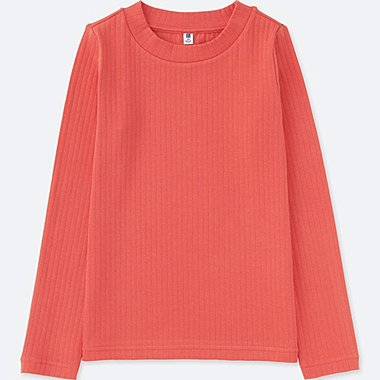 GIRLS RIBBED LONG SLEEVE T-SHIRT, ORANGE, medium