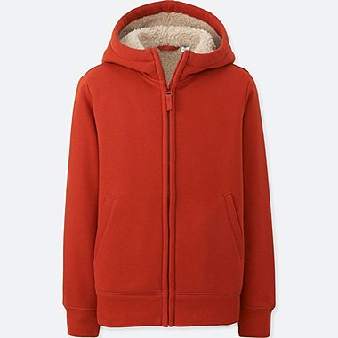 KIDS PILE-LINED SWEAT LONG-SLEEVE FULL-ZIP HOODIE, ORANGE, medium