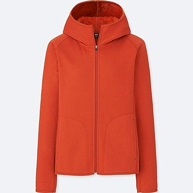 WOMEN BLOCKTECH FLEECE LONG-SLEEVE FULL-ZIP HOODIE, ORANGE, medium