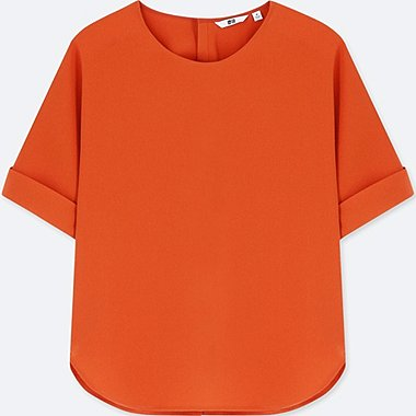 WOMEN DRAPE SHORT-SLEEVE T-SHIRT BLOUSE, ORANGE, medium