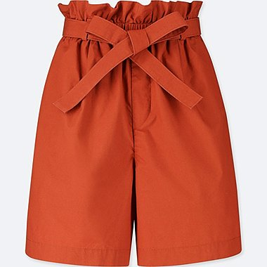 WOMEN 100% Cotton Belted Shorts