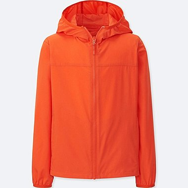KIDS LIGHT POCKETABLE PARKA, ORANGE, medium
