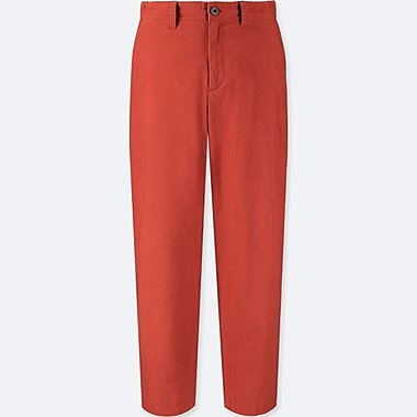 WOMEN COTTON LINEN RELAXED PANTS, ORANGE, medium