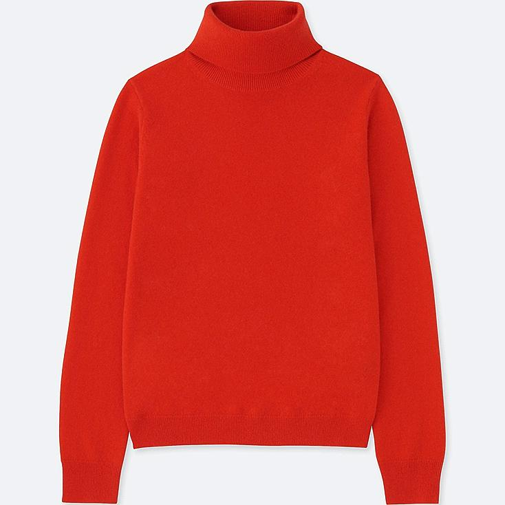 WOMEN CASHMERE TURTLENECK SWEATER, ORANGE, large