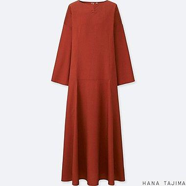 WOMEN KEY NECK LONG-SLEEVE DRESS, ORANGE, medium